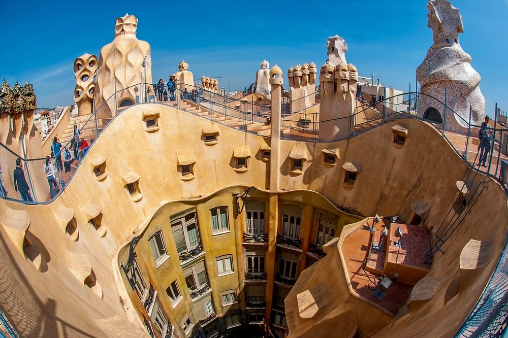 the Star Wars style rooftop of La Pedrera