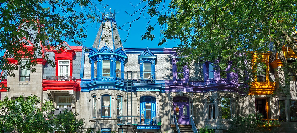 Panorama of colorful Victorian houses in Le Plateau Mont Royal
