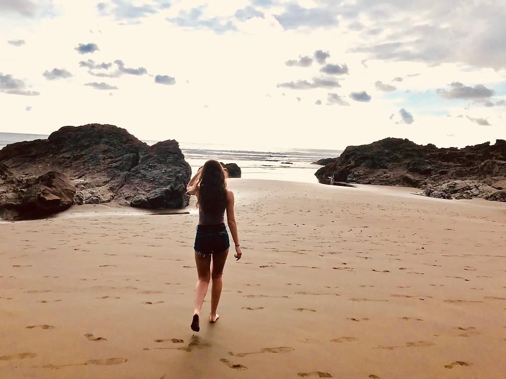 investigating deserted Dominicalito Beach on the Ballena Coast of Costa Rica