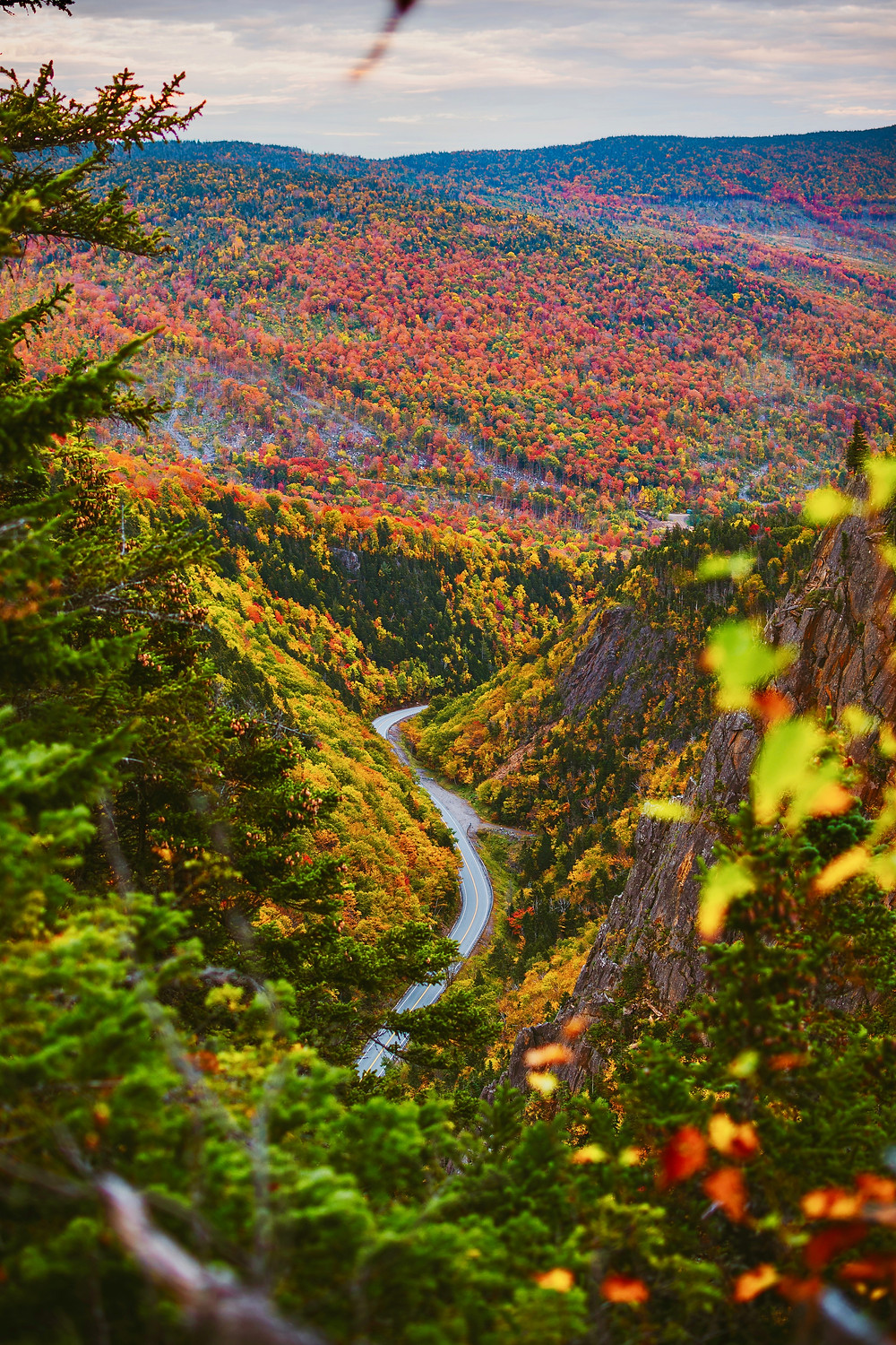 the road winding through Dixville Notch