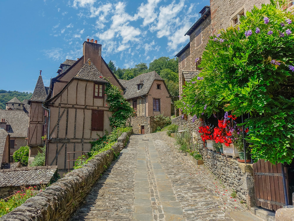 typical cobbled streets in Conques France
