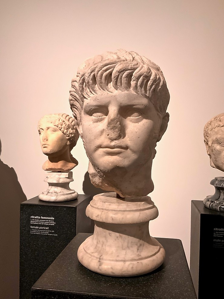 a rare bust of Nero in the Palatine Museum, in a room full of important portrait busts