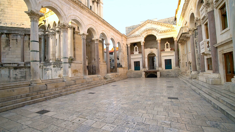 Peristyle Square, the heart of Diocletian's Palace and one of the most breathtaking examples of a Roman architectural ensemble to survive.