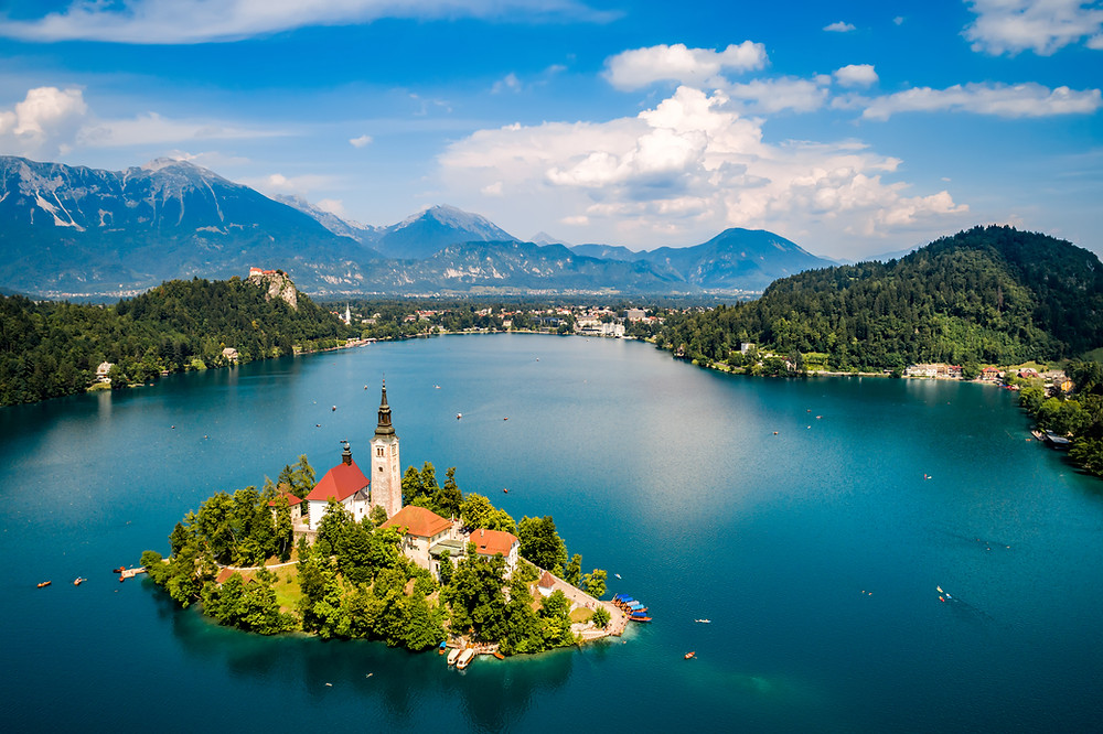 Lake Bled Slovenia, with its island church and medieval cliff hanging castle