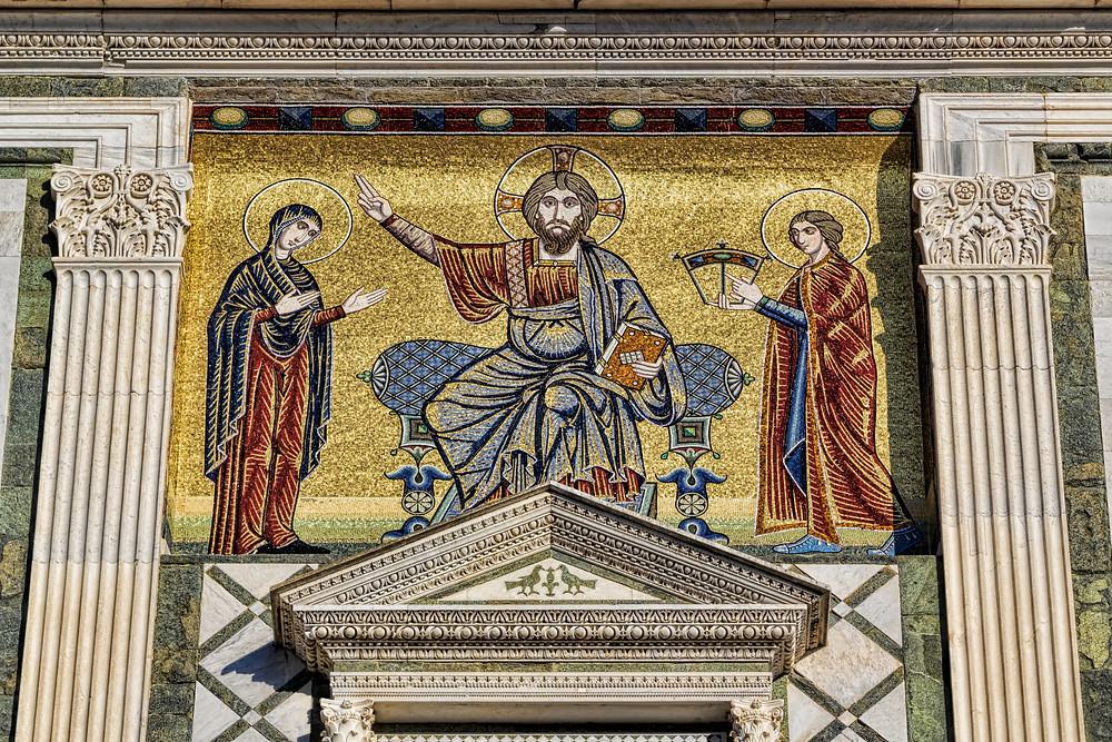 exterior facade with mosaic at the church of San Miniato al Monte