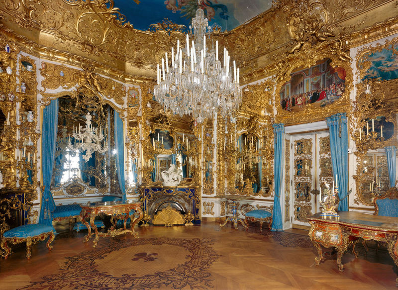the ornate Hall of Mirrors  in Linderhof Palace