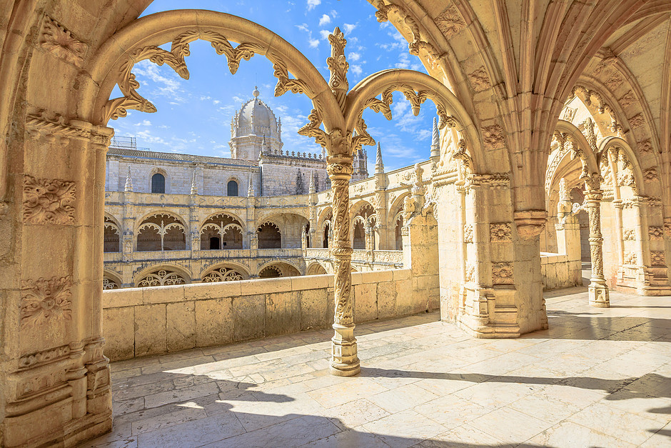 the ornate Manueline cloisters of Jeronimos Monastery in Belem