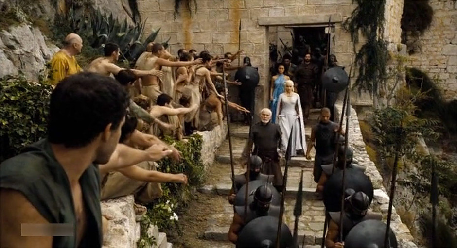 scene from Season 5, Episode 2 of Game of Thrones featuring Klis Fortress