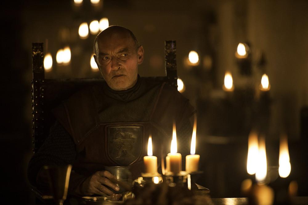 the nasty Randyll Taryl presiding over a family dinner filmed in the King's Room os St. Florentina's Castle