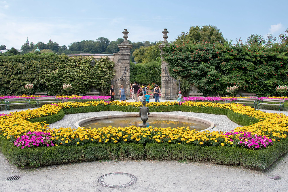 gardens of Mirabell Palace in Salzburg