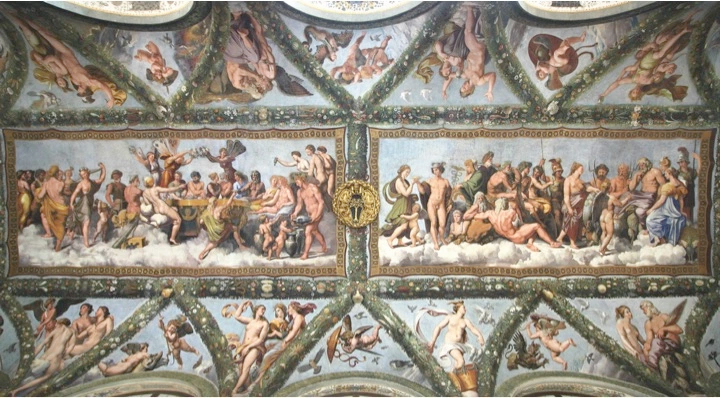 Raphael frescos in the Hall of Cupid and Psyche