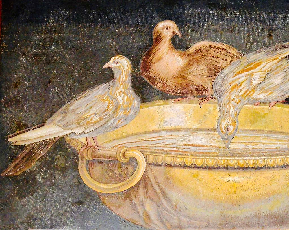 mosaic showing doves drinking from a bowl, from Hadrian's villa, 2nd century AD