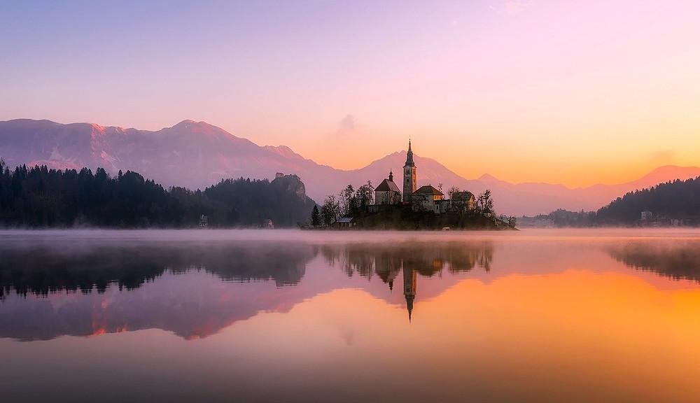 Lake Bled at sunset