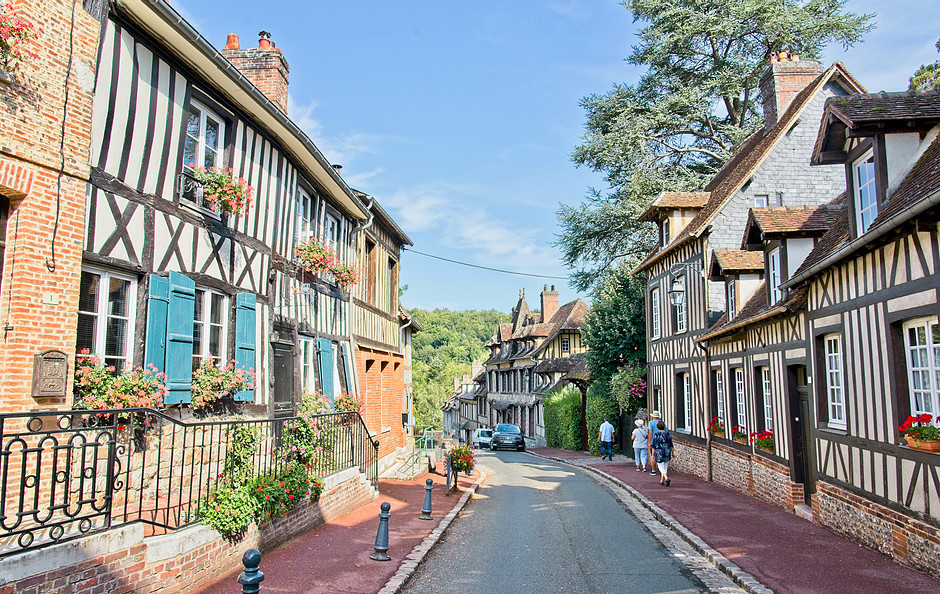 pretty lane in Lyons-la-Foret, a perfect day trip from Paris