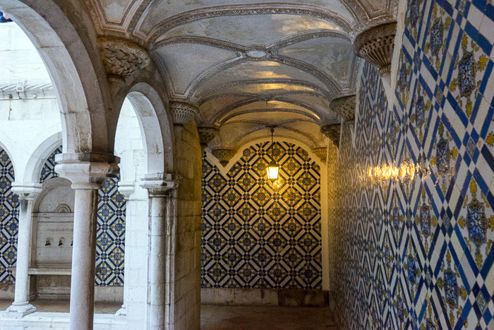 azulejo tiled walls in the cloister of Madre de Deus Convent