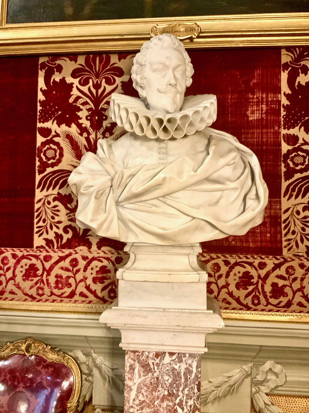 Bust of Benedetto Pamphilj in the Velvets Room -- just look at that ruffle