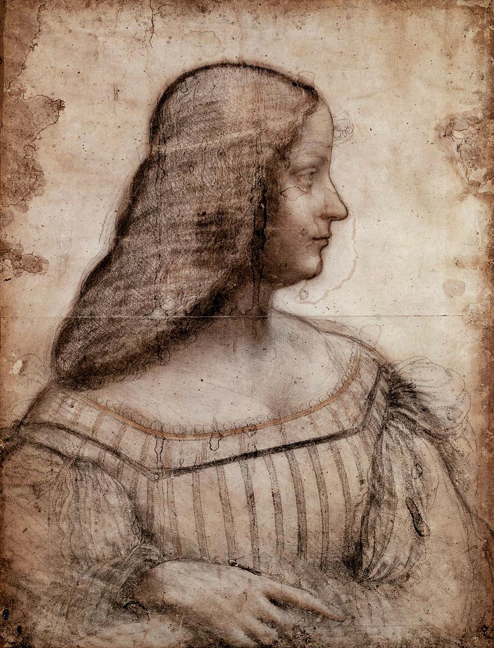 Leonardo da Vinci, Sketch of Isabella d'Este, circa 1500 --in the Louvre