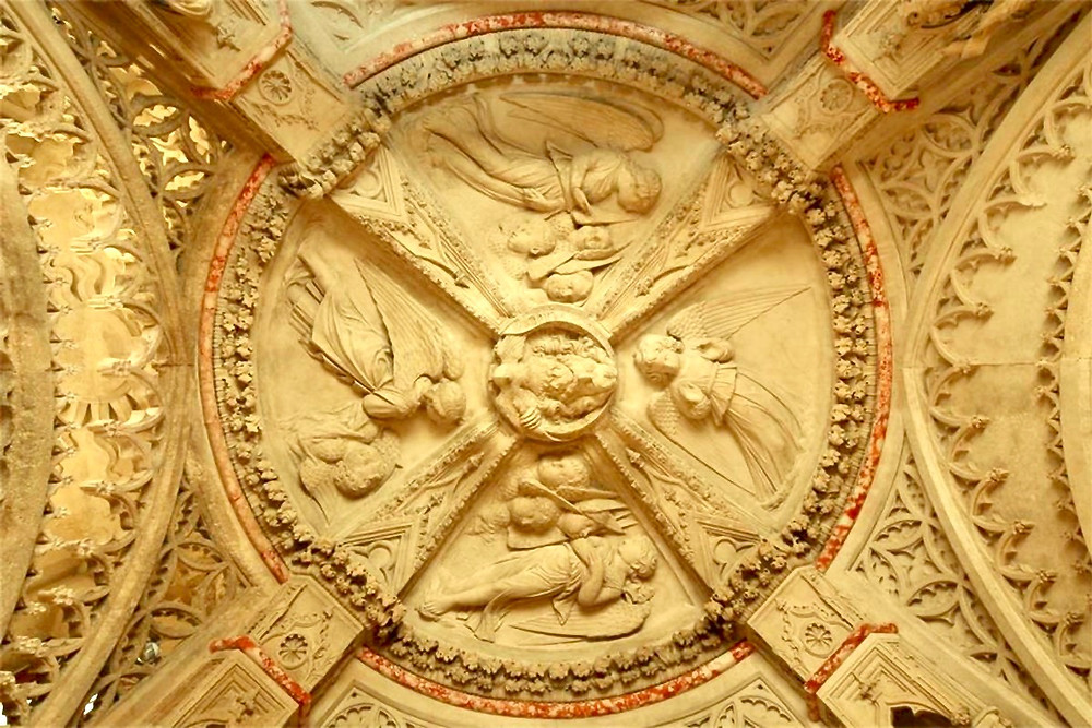 the ceiling in the baptistery of St. James Cathedral