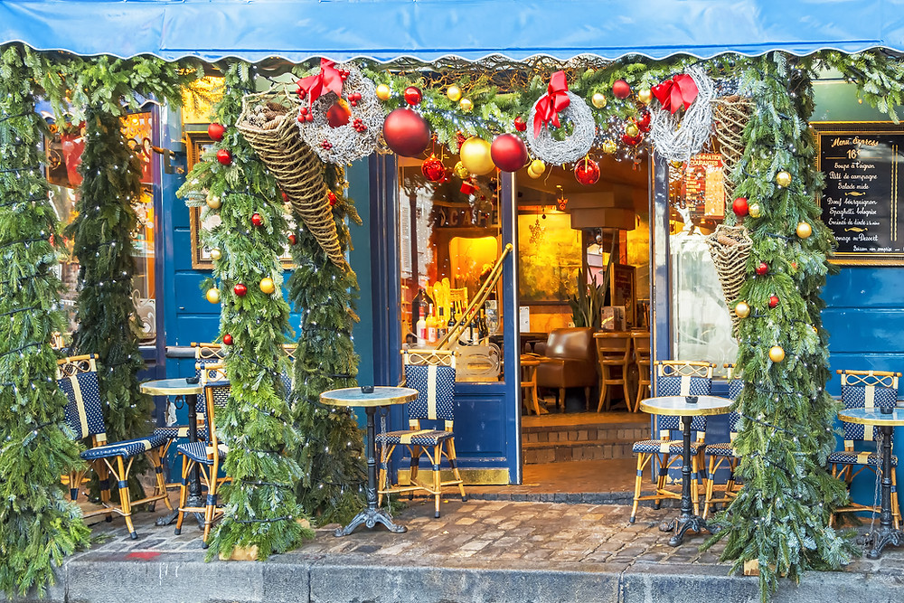 Paris cafe decorated for Christmas