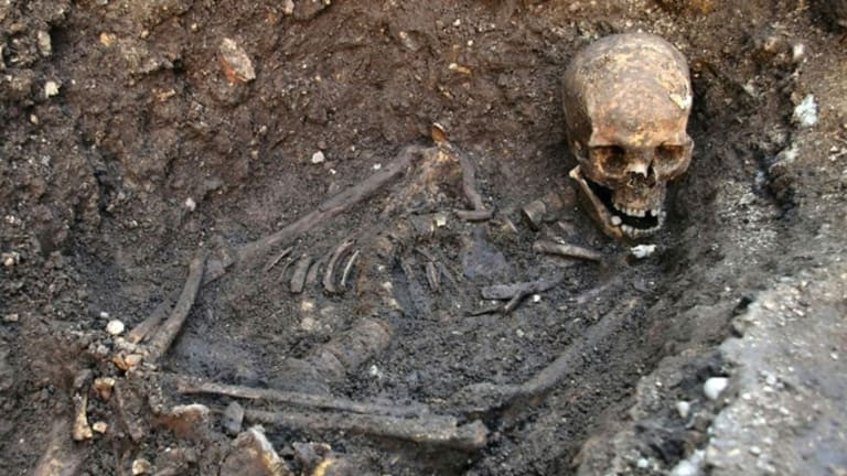 the bones of King Richard III in a Leicester parking lot. image source: history.com
