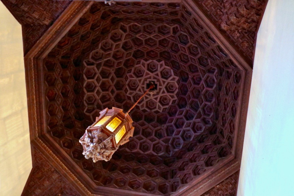 coffered ceiling in the Chapel of the Navigators in the Alcazar