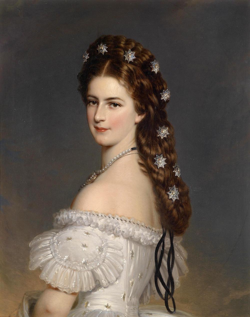 Franz Xaver Winterhalter, detail Empress Elisabeth of Austria, 1865.