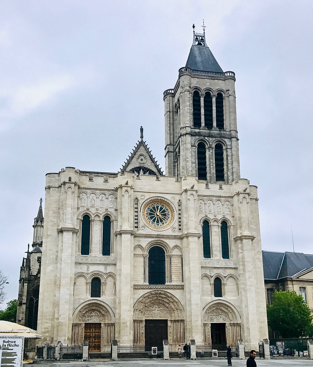 the Basilica de Saint-Denis on a cloudy day in April