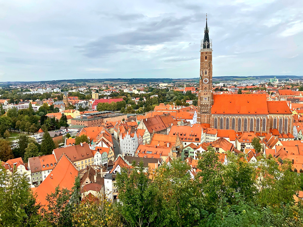 view of adorable Landshut from Trausnitz Castle, the ducal residence of the Wittelsbach dynasty