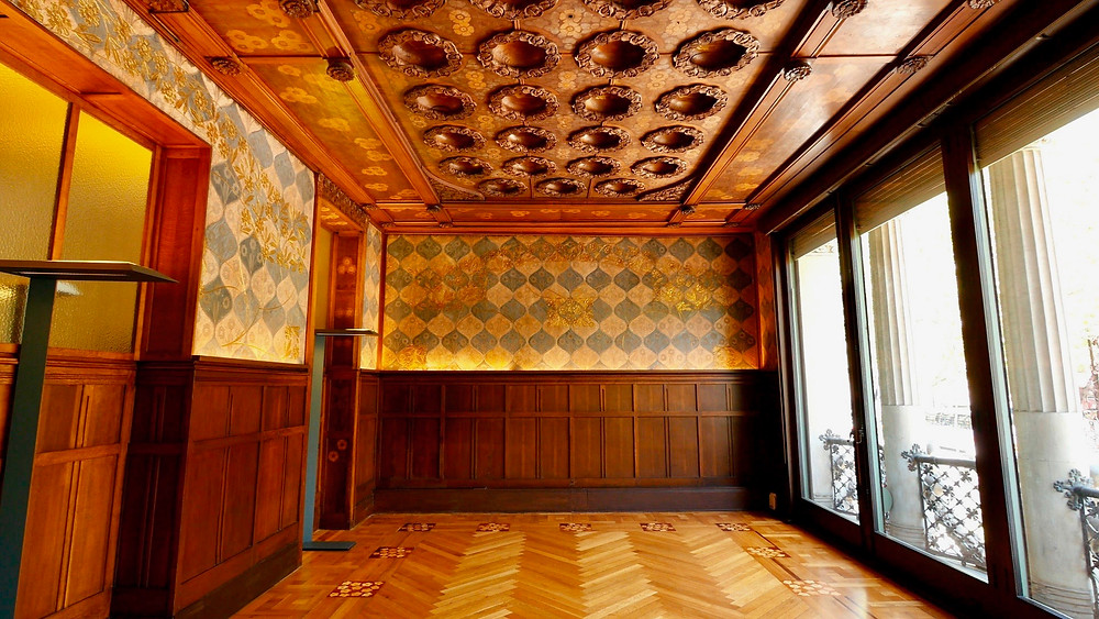 the wood paneled drawing room