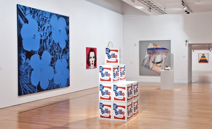 Andy Warhol paintings and Brillo exhibit in the Coleção Berardo Museum