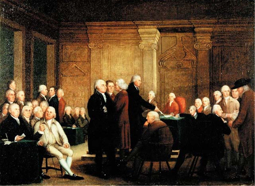 Robert Edge Pine, Congress Voting Independence, 1784-88 -- on display in Independence Hall
