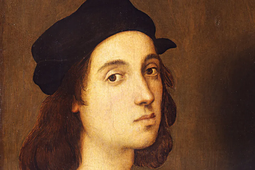 detail of Raphael's self portrait in Florence's Uffizi Gallery
