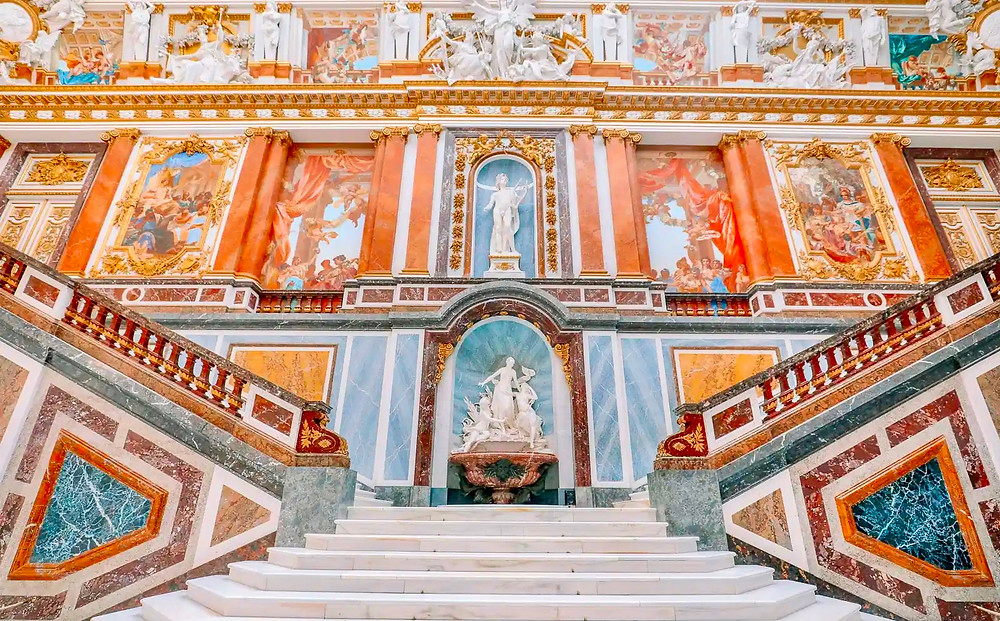the grand staircase in Herrenchiemsee Palace