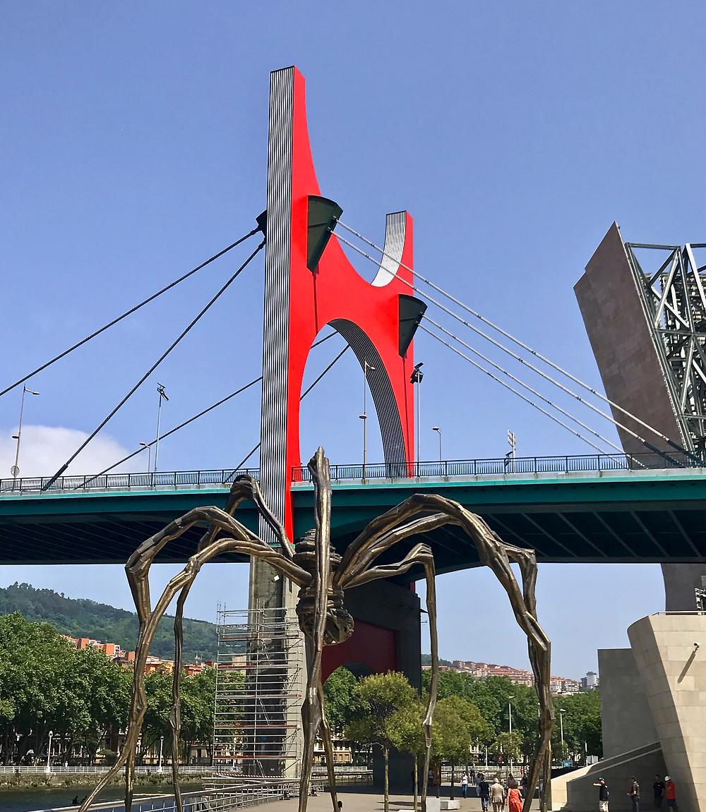 La Salve Bridge and the Maman sculpture at the Guggenheim Museum in Bilbao