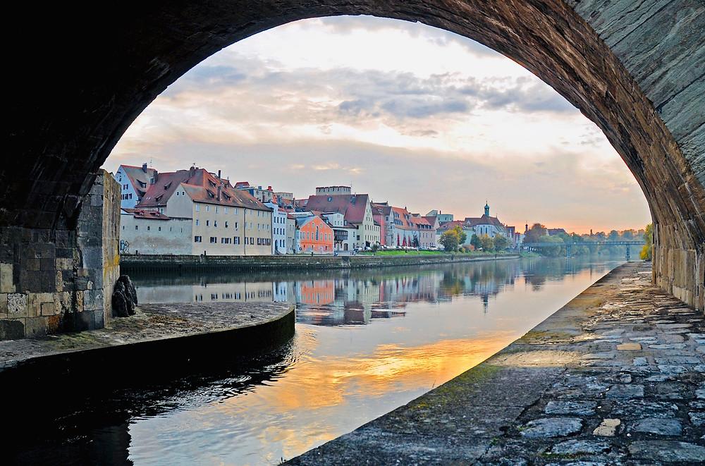 pedestrian path under Regensburg's Stone Brige