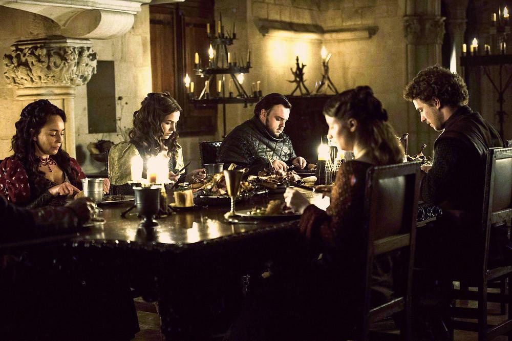 the awkward family dinner at Horn Hill filmed in the King's Room