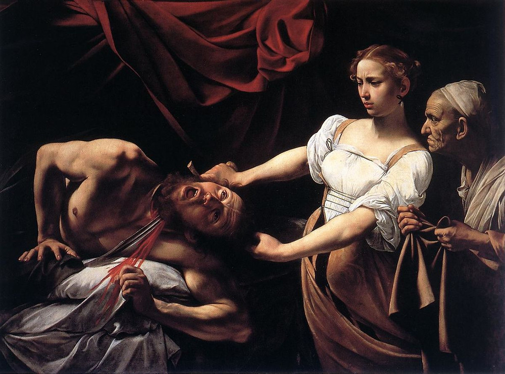Caravaggio's version of Judith and Holofernes, which was considered shocking at the time. Artemisia's version takes it up a notch.