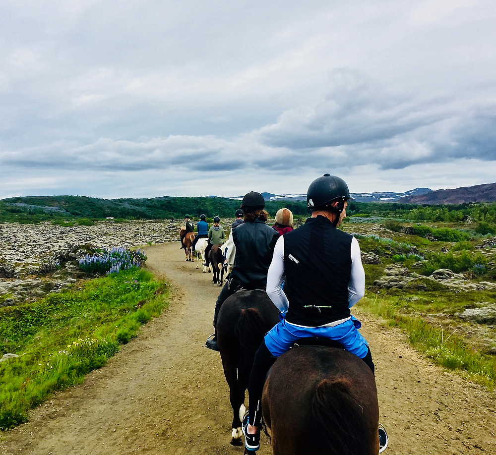 horseback riding in Iceland, my husband looking cautiously around