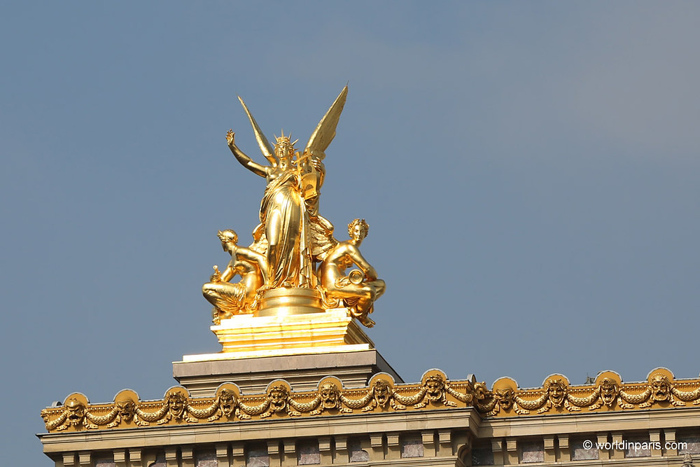 the statue of Poetry on the facade of the Paris Opera