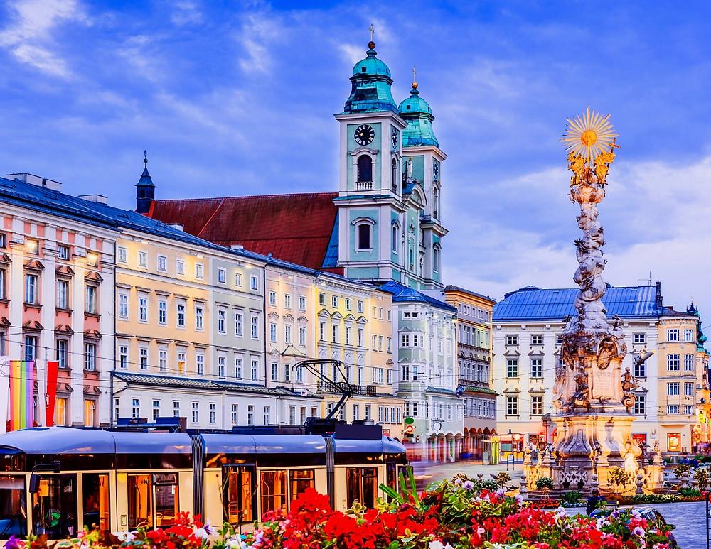 the Holy Trinity column in the Hauptplatz (main square) in the center of Linz Austria