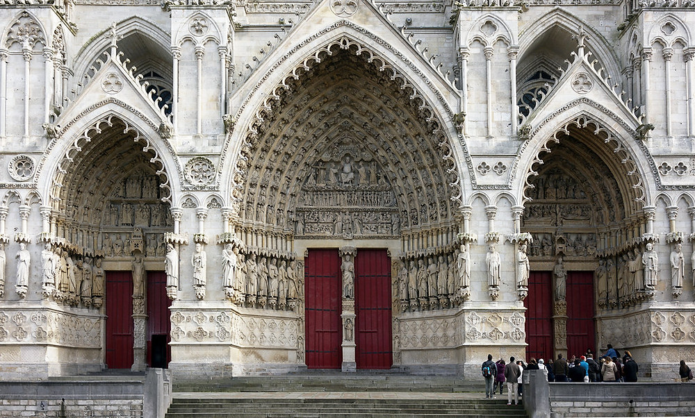 the triple portal facade of Cathédrale Notre-Dame d'Amiens in Amiens France