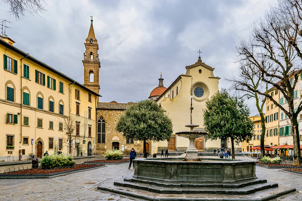 Piazza Santo Spirito in the now trendy Oltrarno district of Florence