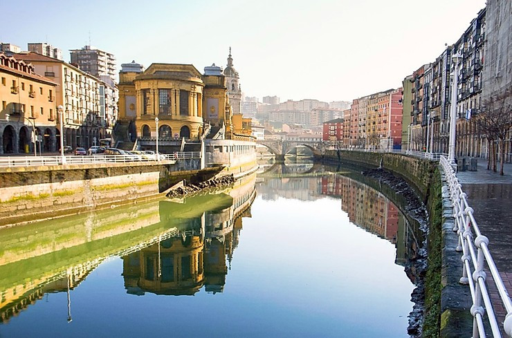 the Nervion River in old town Bilbao