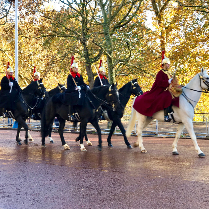 the royal cavalry on parade in London in celebration of the 100 year Armistice of WWI