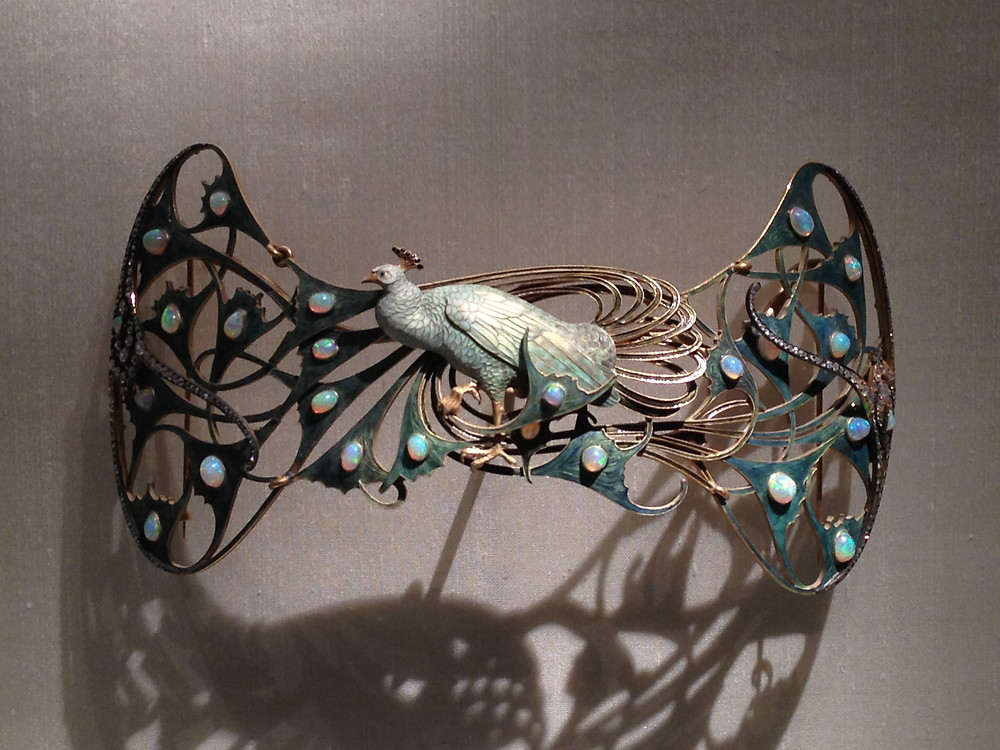 Rene Lalique, Peacock Corsage Ornament, 1898-1900