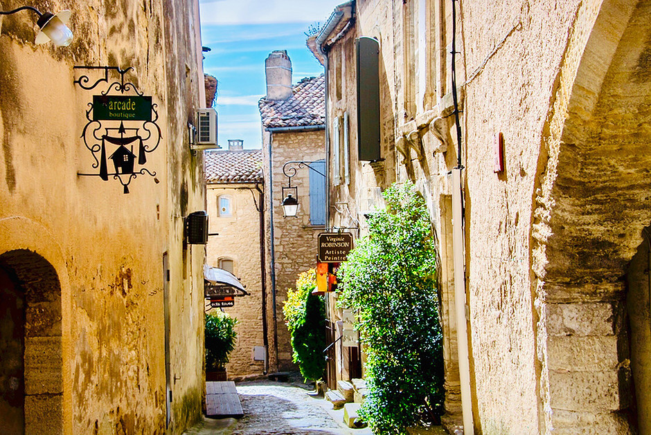 pretty cobbled street in the stony town of Uzes France