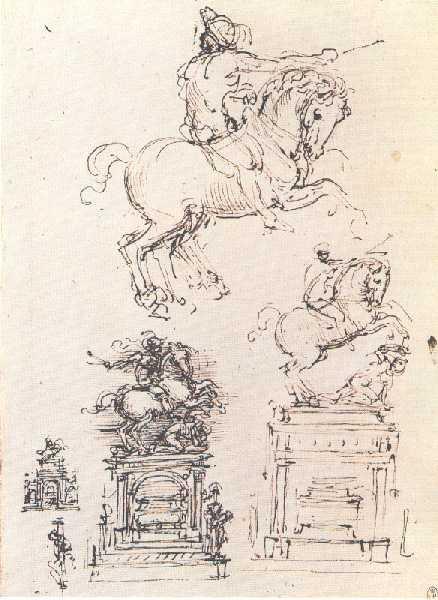 one of Leonardo's preparatory sketches for the Sforza Horse, in the Ambrosiana Library