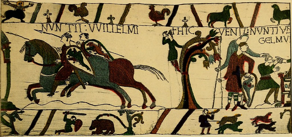 detail of the Bayeux Tapestry, which has 50 scenes depicting the Norman conquest
