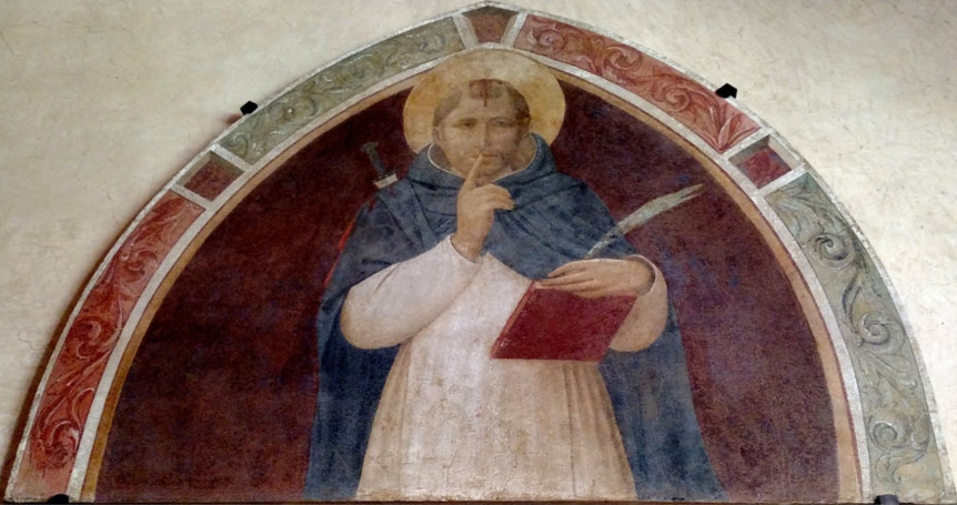 Fra Angelico, St. Peter Martyr Enjoins Silence, 1441-43 -- in a cloister lunette