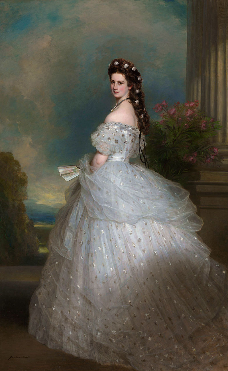 Franz Xaver Winterhalter, Empires Elizabeth, 1865 -- Sisi had ankle length long hair that she spent 2 hours a day tending to